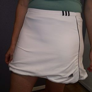 Adidas Climate White/Black Stripes Tennis Skirt
